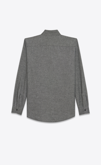 SAINT LAURENT Denim shirts Man Oversized Shirt in Grey Flannel b_V4