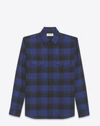 SAINT LAURENT Western Shirts U Oversized Shirt in Blue and Black Plaid cotton f
