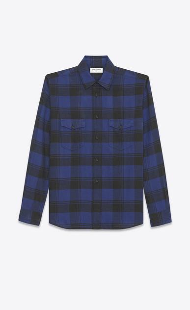 SAINT LAURENT Denim shirts U Oversized Shirt in Blue and Black Plaid cotton a_V4
