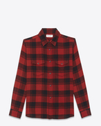 SAINT LAURENT Western Shirts U Oversized Shirt in Black and Red Plaid cotton f