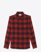 SAINT LAURENT Denim shirts U Oversized Shirt in Black and Red Plaid cotton f