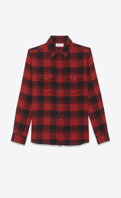 SAINT LAURENT Denim shirts U Oversized Shirt in Black and Red Plaid cotton a_V4