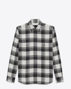 SAINT LAURENT Western Shirts U Oversized Shirt in White and Black Plaid cotton f