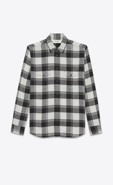 SAINT LAURENT Denim shirts U Oversized Shirt in White and Black Plaid cotton a_V4