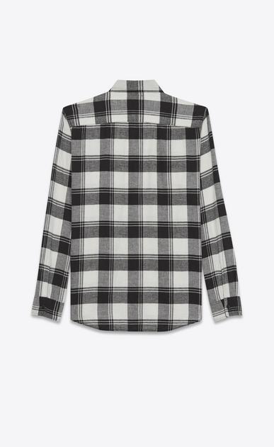 SAINT LAURENT Denim shirts U Oversized Shirt in White and Black Plaid cotton b_V4