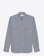 SAINT LAURENT Western Shirts U Oversized Shirt in Navy Blue Stonewash Striped Cotton f