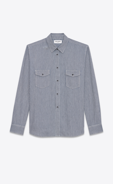 SAINT LAURENT Denim shirts U Oversized Shirt in Navy Blue Stonewash Striped Cotton a_V4