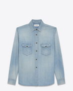 SAINT LAURENT Western Shirts U Oversized Shirt in Light Blue Denim f