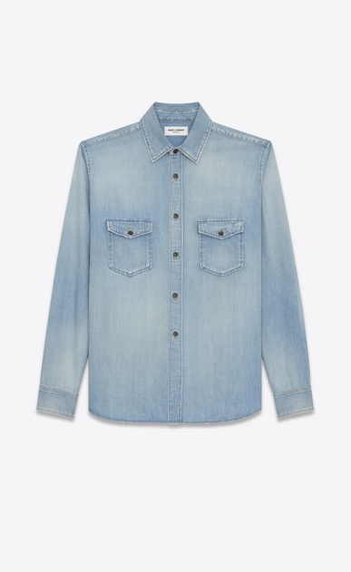 SAINT LAURENT Denim shirts U Oversized Shirt in Light Blue Denim a_V4