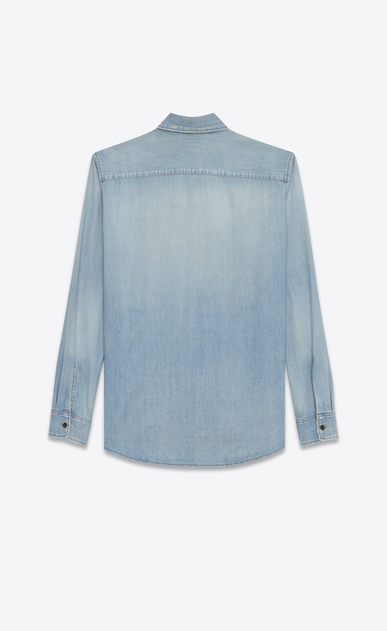 SAINT LAURENT Denim shirts U Oversized Shirt in Light Blue Denim b_V4