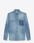 SAINT LAURENT Western Shirts U Oversized Shadow Pocket Embroidered Shirt in Vintage Blue Denim f