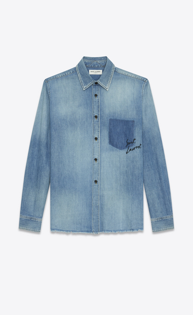 SAINT LAURENT Denim shirts U Oversized Shadow Pocket Embroidered Shirt in Vintage Blue Denim a_V4