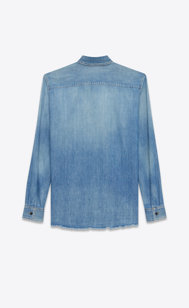 SAINT LAURENT Denim shirts U Oversized Shadow Pocket Embroidered Shirt in Vintage Blue Denim b_V4
