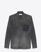 SAINT LAURENT Western Shirts U Oversized Shadow Pocket Embroidered Shirt in Medium Black Denim f