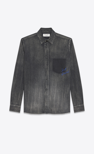 SAINT LAURENT Denim shirts U Oversized Shadow Pocket Embroidered Shirt in Medium Black Denim a_V4