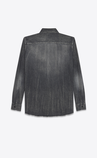 SAINT LAURENT Denim shirts U Oversized Shadow Pocket Embroidered Shirt in Medium Black Denim b_V4