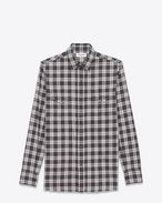 SAINT LAURENT Western Shirts U Classic Western Shirt in Grey Stonewash Cotton Plaid f