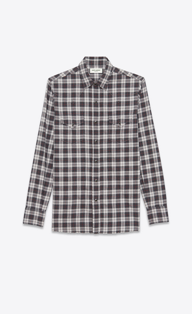 SAINT LAURENT Western Shirts U Classic Western Shirt in Grey Stonewash Cotton Plaid a_V4