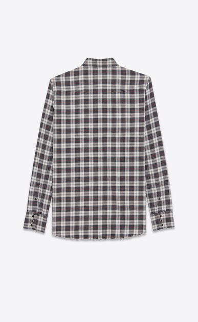 SAINT LAURENT Western Shirts U Classic Western Shirt in Grey Stonewash Cotton Plaid b_V4