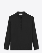 SAINT LAURENT Casual Shirts U Band Collar Tunic in Black Twill Viscose f