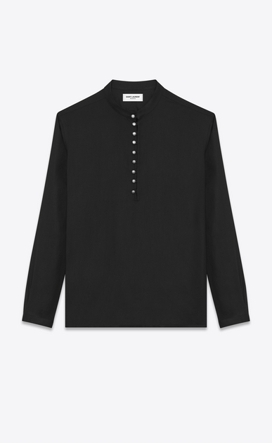 SAINT LAURENT Casual Shirts Man Band Collar Tunic in Black Twill Viscose a_V4