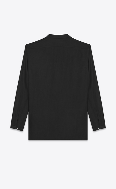 SAINT LAURENT Casual Shirts U Band Collar Tunic in Black Twill Viscose b_V4