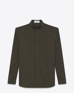 SAINT LAURENT Casual Shirts U Band Collar Shirt in Khaki Viscose and Silk f