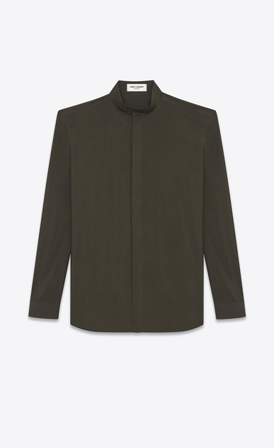 SAINT LAURENT Casual Shirts U Band Collar Shirt in Khaki Viscose and Silk a_V4