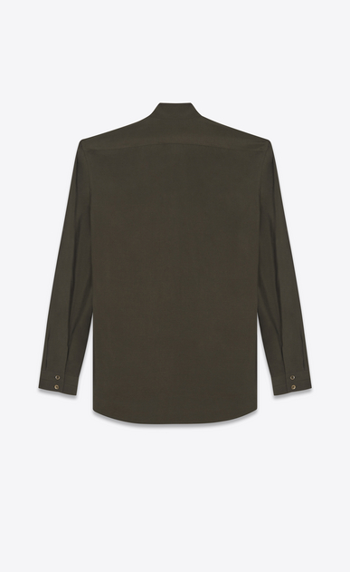 SAINT LAURENT Casual Shirts U Band Collar Shirt in Khaki Viscose and Silk b_V4