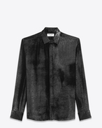 SAINT LAURENT Classic Shirts U YVES Collar Shirt in Black Velvet Lamé f