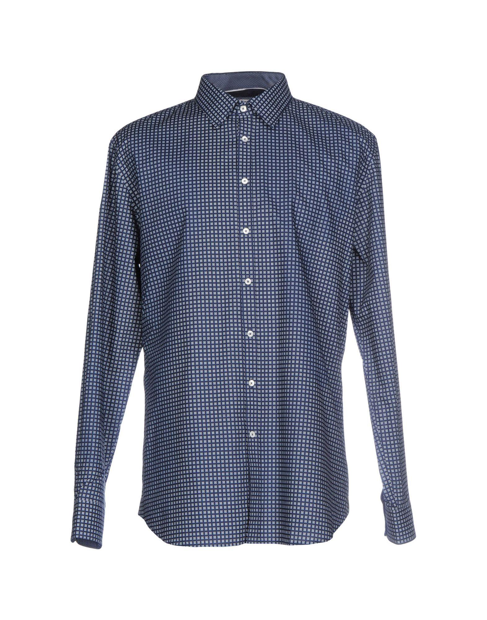 《送料無料》Q1 メンズ シャツ ダークブルー 46 コットン 100%