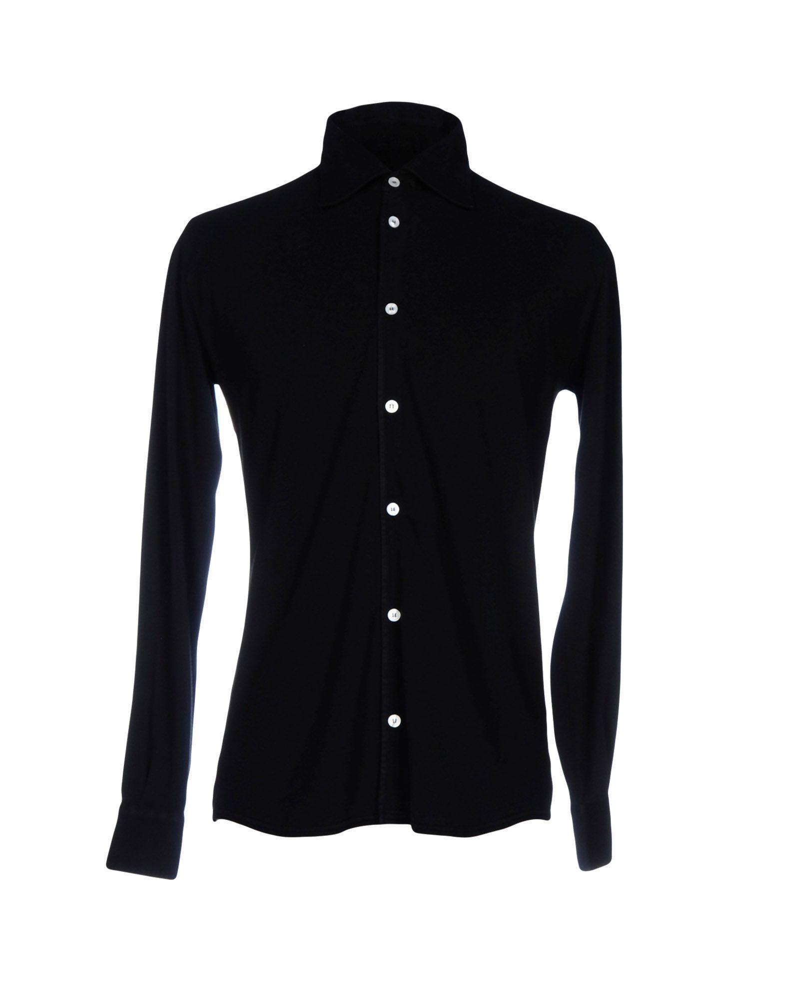 FEDELI メンズ シャツ ブラック 46 コットン 100%