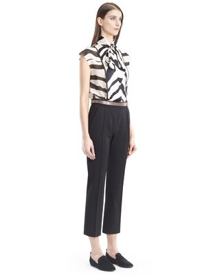 LANVIN GRAPHIC SILK GEORGETTE BLOUSE Top D d