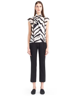 LANVIN GRAPHIC SILK GEORGETTE BLOUSE Top D f