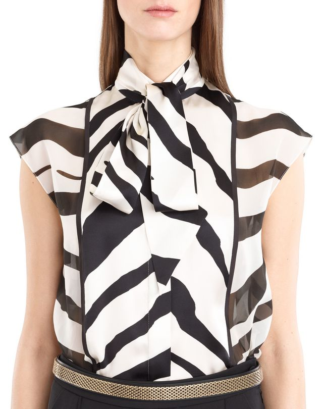 LANVIN GRAPHIC SILK GEORGETTE BLOUSE Top D a