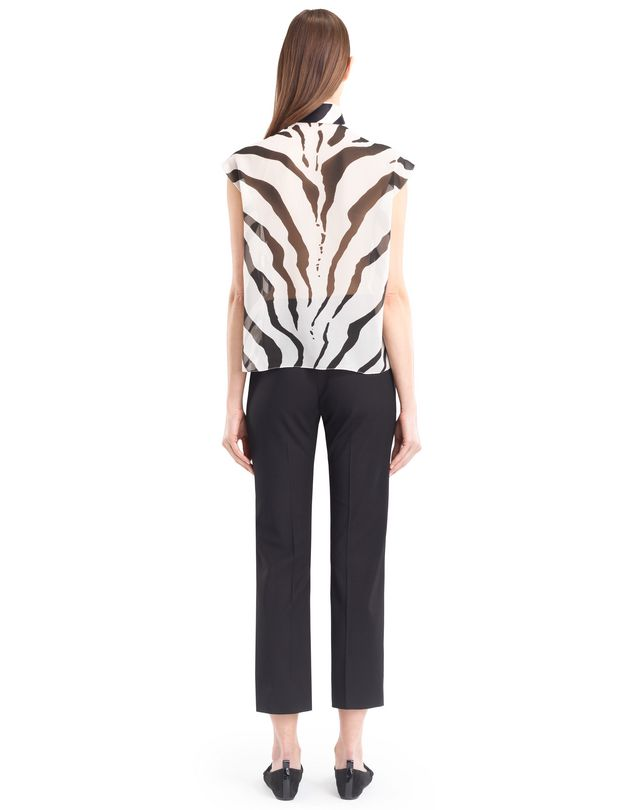 LANVIN GRAPHIC SILK GEORGETTE BLOUSE Top D e