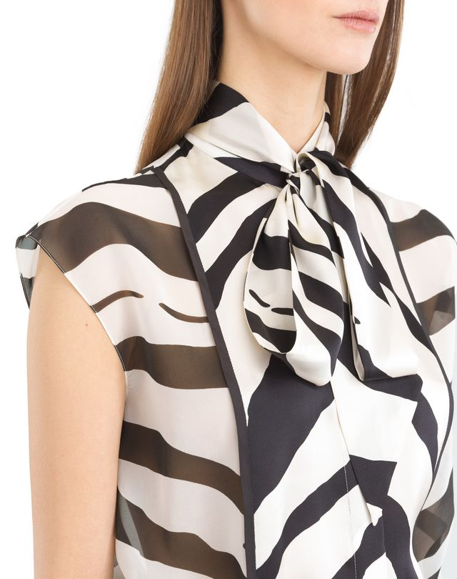 LANVIN GRAPHIC SILK GEORGETTE BLOUSE Top D r