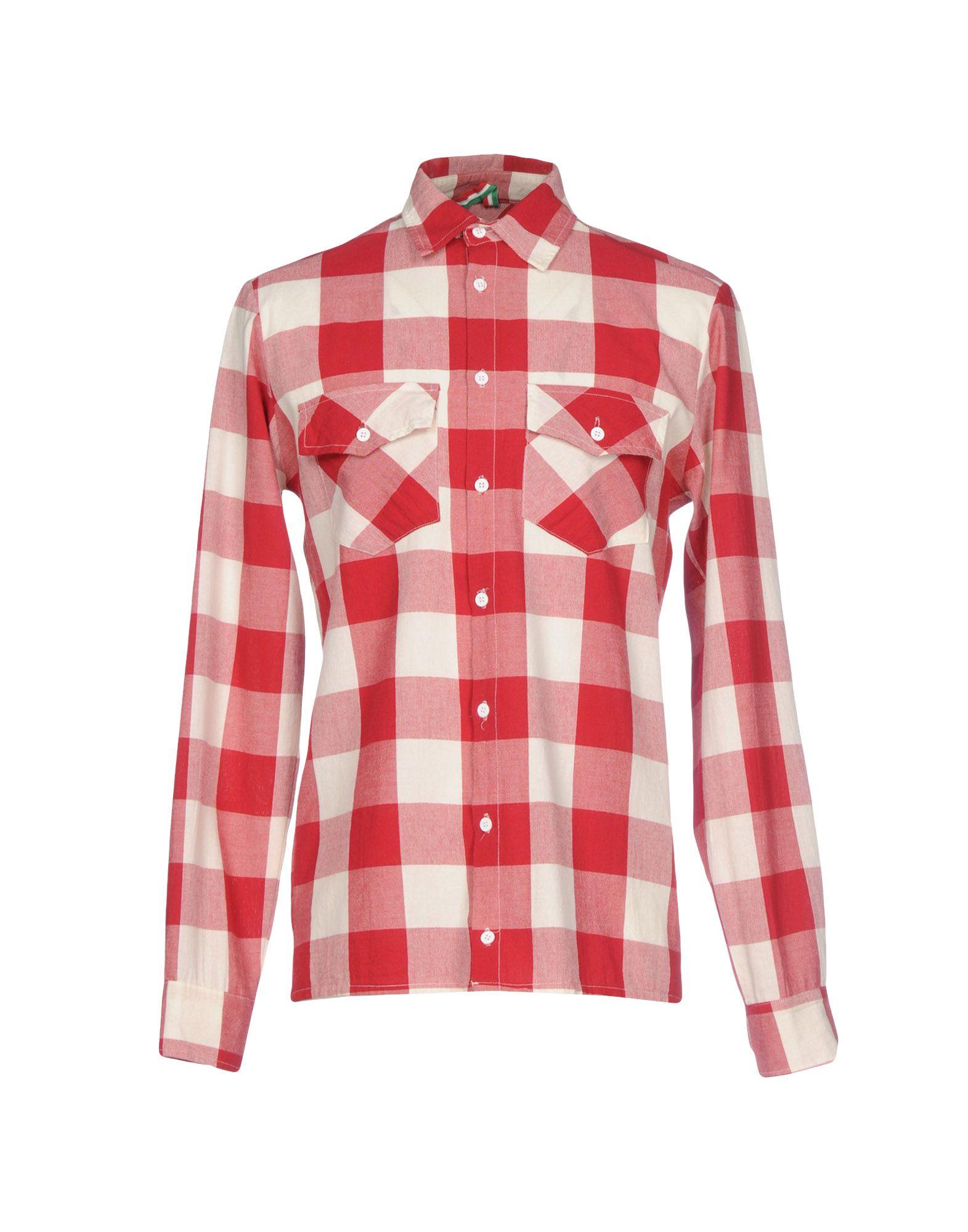 《期間限定セール中》BERNA メンズ シャツ レッド S コットン 100%