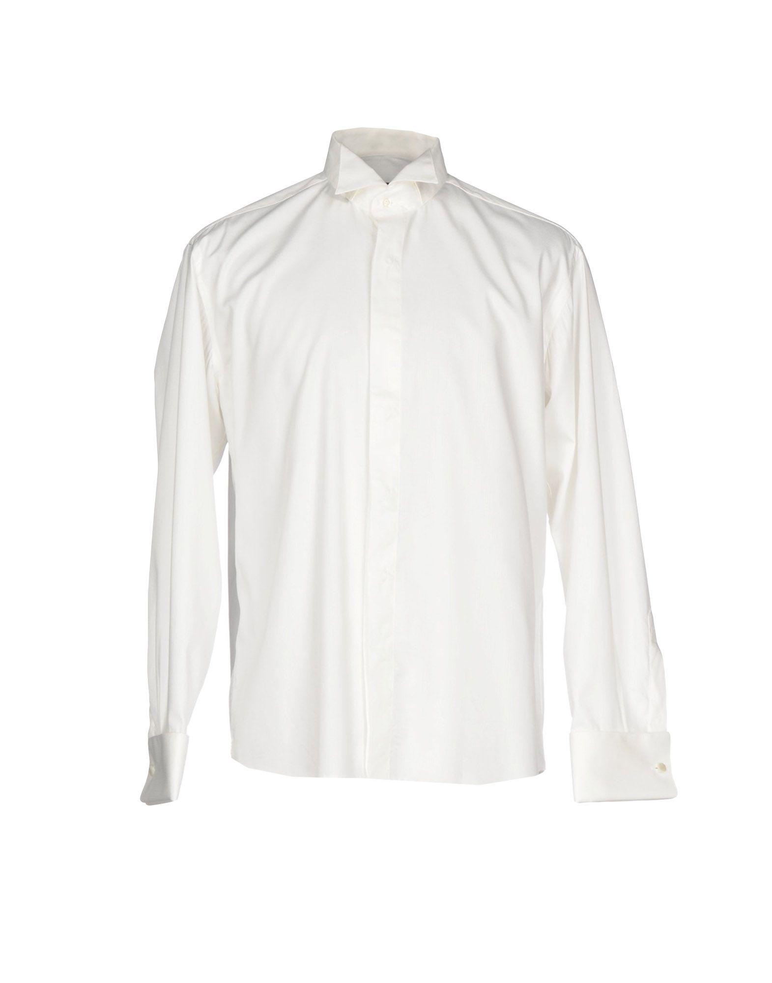 《セール開催中》ROCCOBAROCCO メンズ シャツ ホワイト 44 コットン 100%