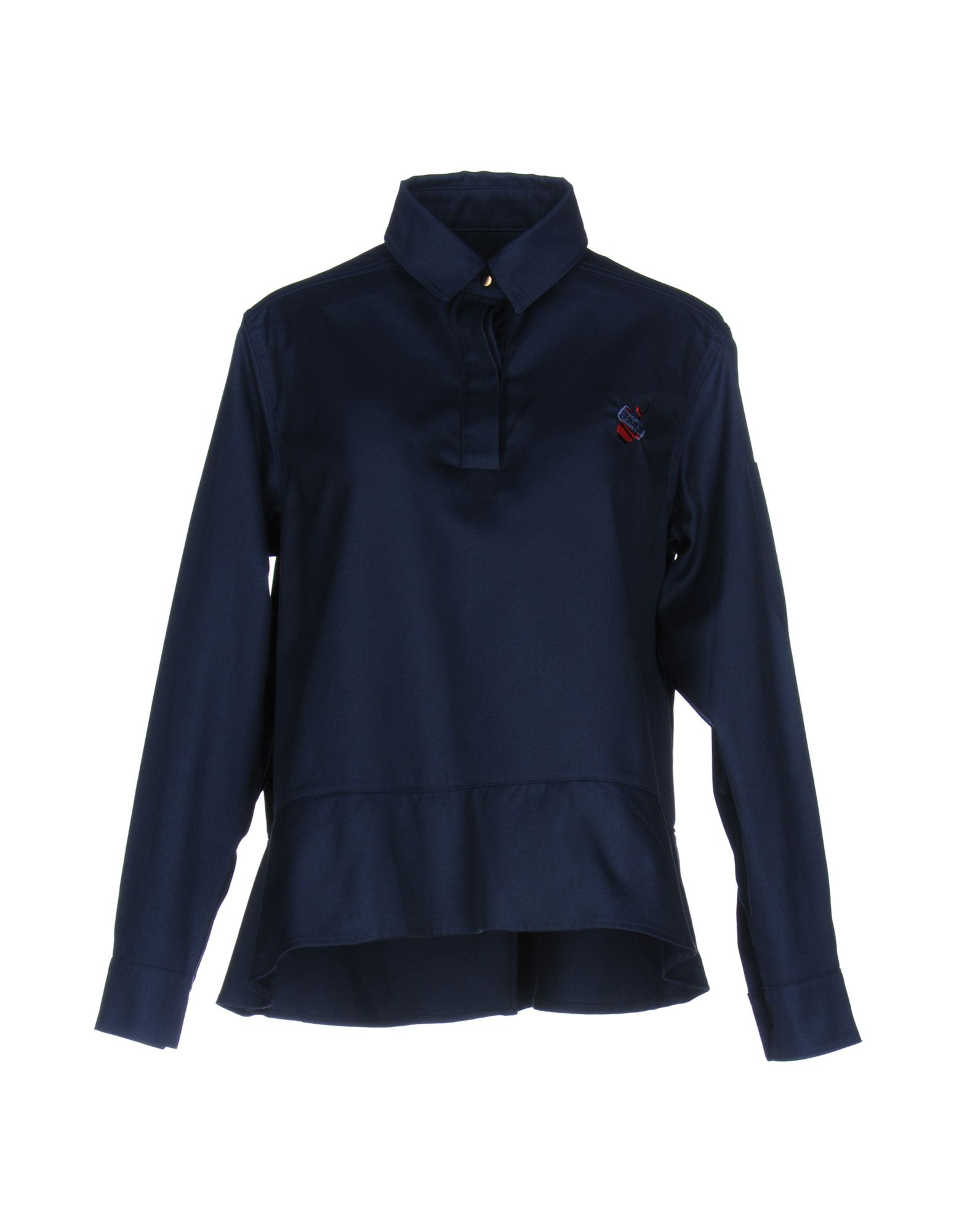 J.WON Solid Color Shirts & Blouses in Dark Blue