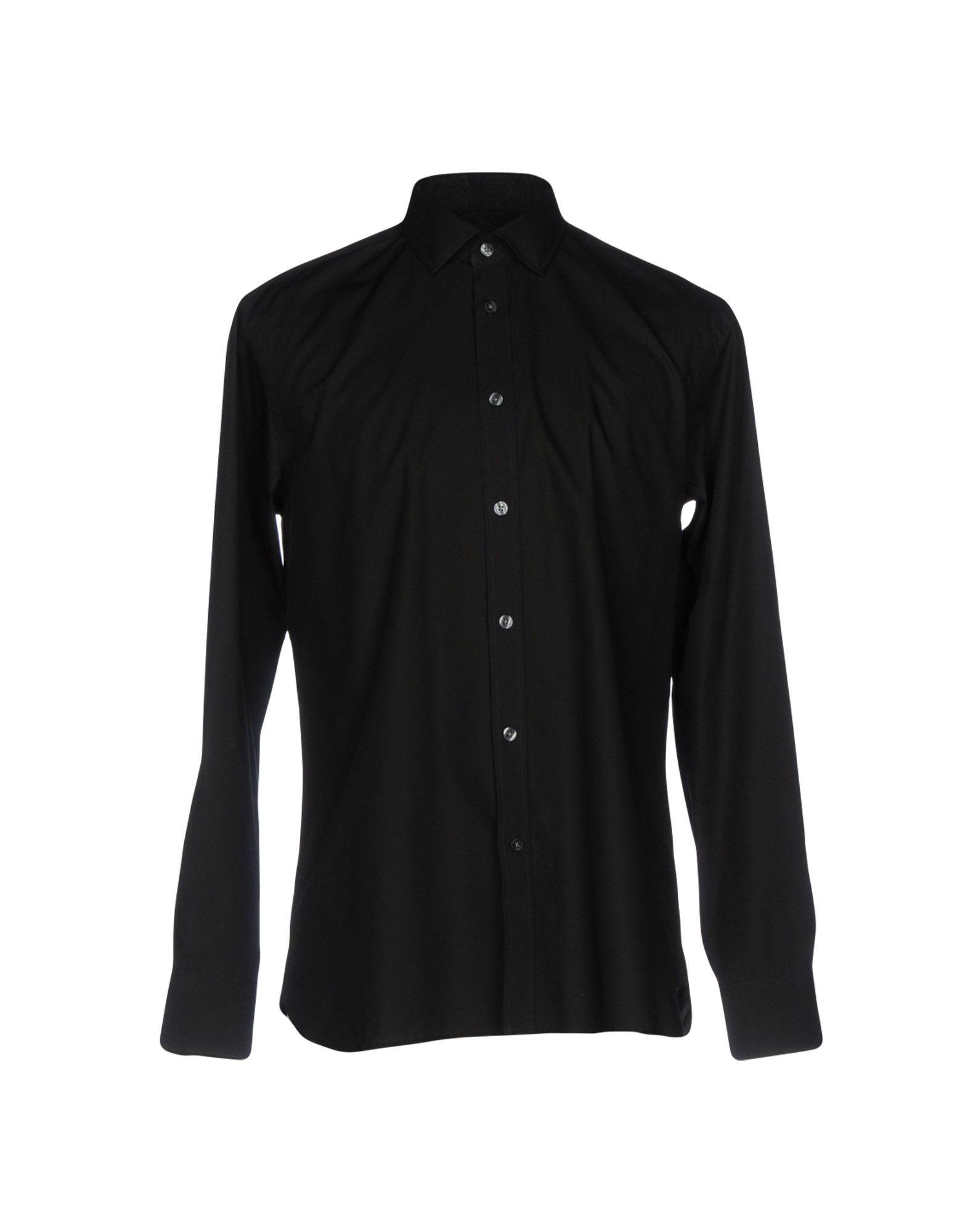 《2万円以上オーダーで送料無料》AQUASCUTUM メンズ シャツ ブラック 38 コットン 100%