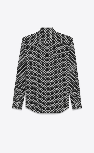 SAINT LAURENT Casual Shirts U Y-neck shirt with clover print in black and gray crepe de chine b_V4