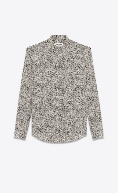 SAINT LAURENT Classic Shirts U Y-neck shirt with a bouquet print in black and ivory viscose fabric a_V4