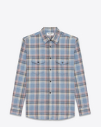 SAINT LAURENT Western Shirts U Oversize checked shirt in blue cotton f
