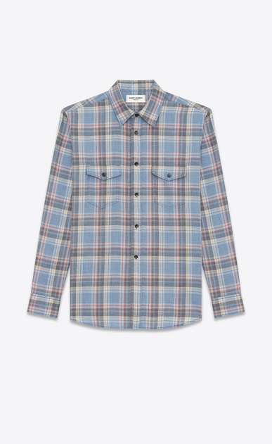 SAINT LAURENT Denim shirts Man Oversize checked shirt in blue cotton a_V4