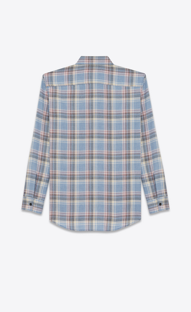 SAINT LAURENT Denim shirts Man Oversize checked shirt in blue cotton b_V4
