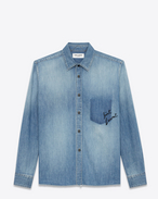 SAINT LAURENT Denim shirts D Oversized embroidered checked shirt in blue denim f