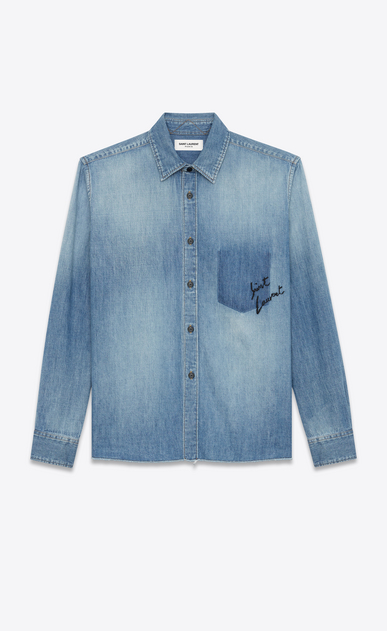 SAINT LAURENT Denim shirts D Oversized embroidered checked shirt in blue denim a_V4