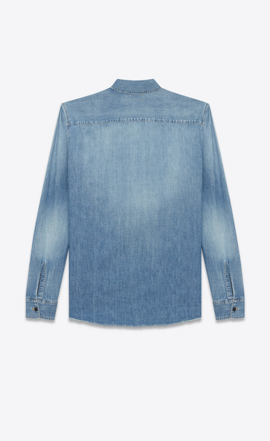 SAINT LAURENT Denim shirts D Oversized embroidered checked shirt in blue denim b_V4