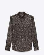 SAINT LAURENT Classic Shirts D Shirt with meteorite print in black, gold and silver silk crepe f